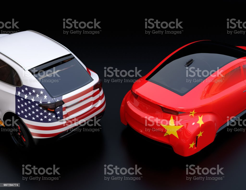 Two cars with China and US flags on rear side. black background stock photo