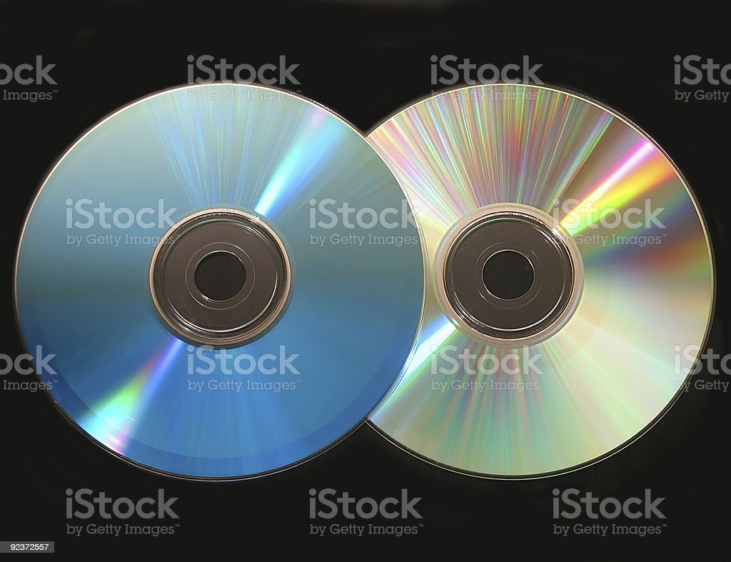 Two cd on black royalty-free stock photo
