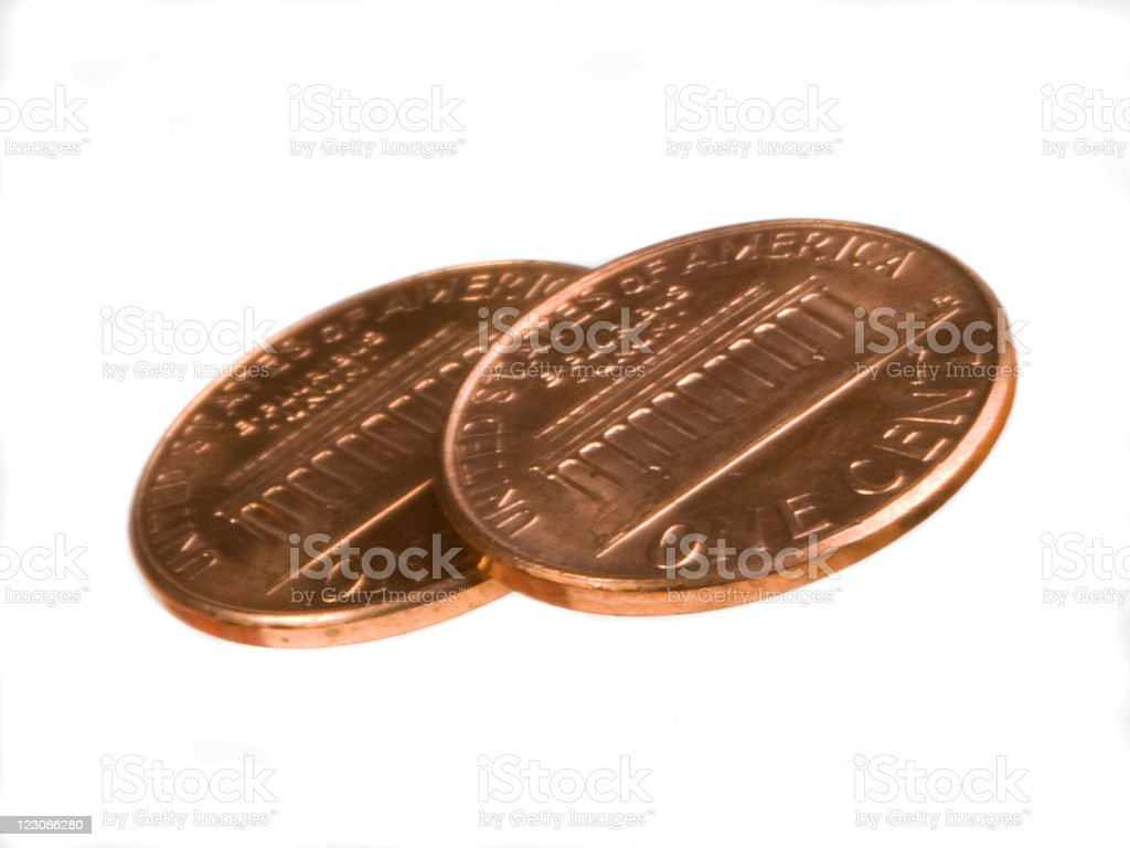 Two Cents on White stock photo