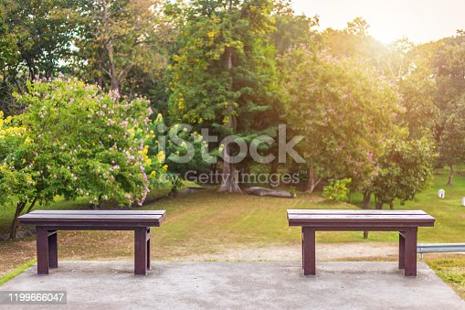 Two chair sitting on green grass in Ang Kaew Chiang Mai University Forested, Public park Chiang Mai,Thailand.