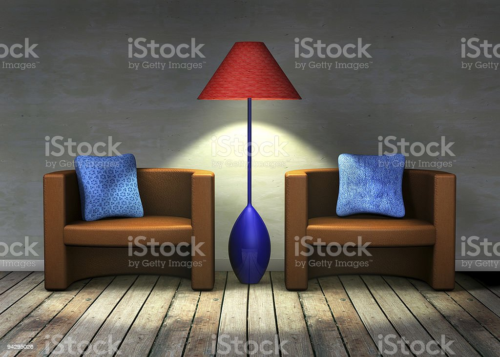 Two chairs and a lamp royalty-free stock photo
