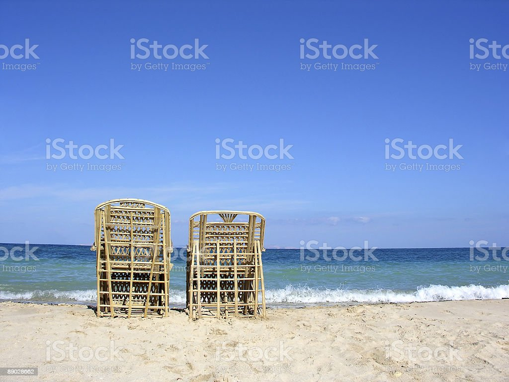 two chairs. beach. royalty-free stock photo