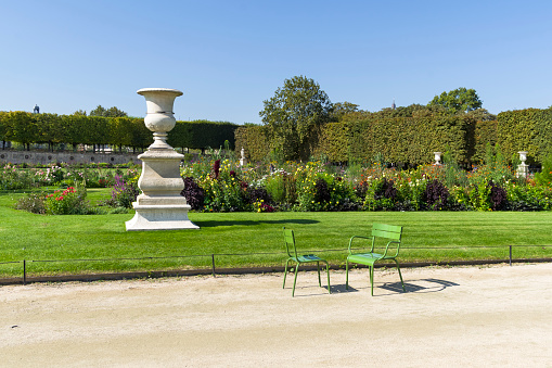 Two chairs on the path in the Tuileries garden
