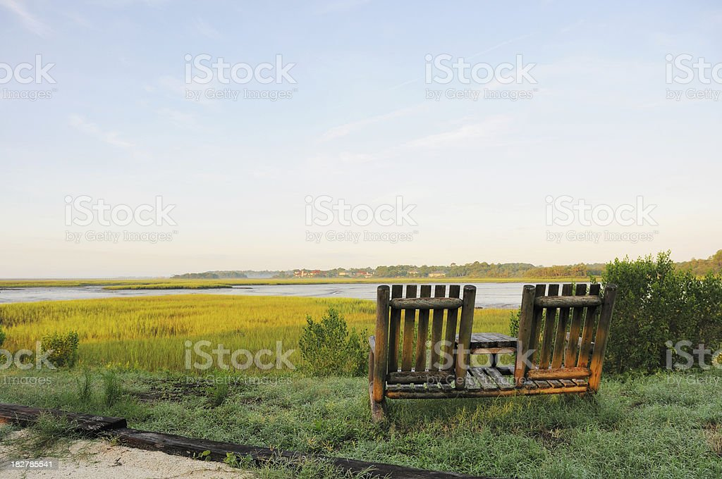 Two Chairs Overlooking Amelia Island Florida River Marsh at Dawn stock photo