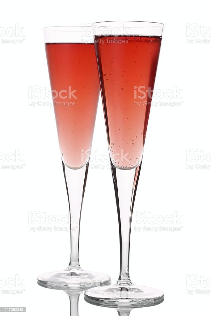 Two Champagne Glasses Kir Royal stock photo