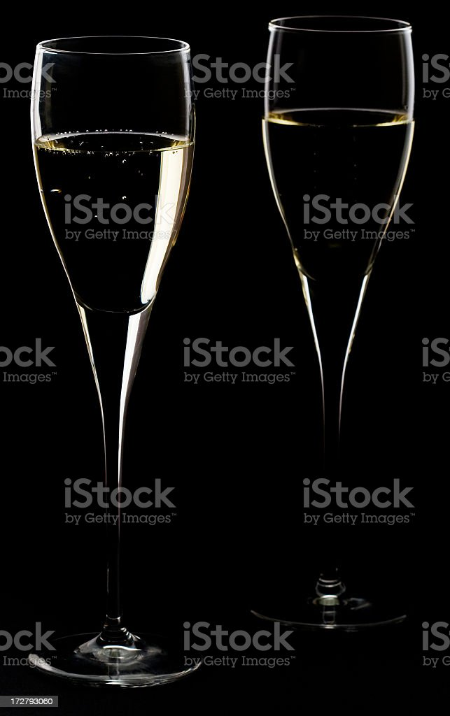 Two Champagne glasses on black background stock photo