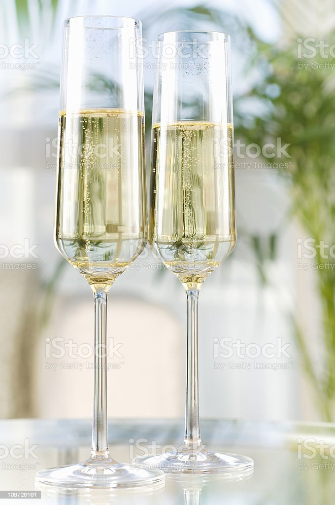 Two champagne glasses royalty-free stock photo