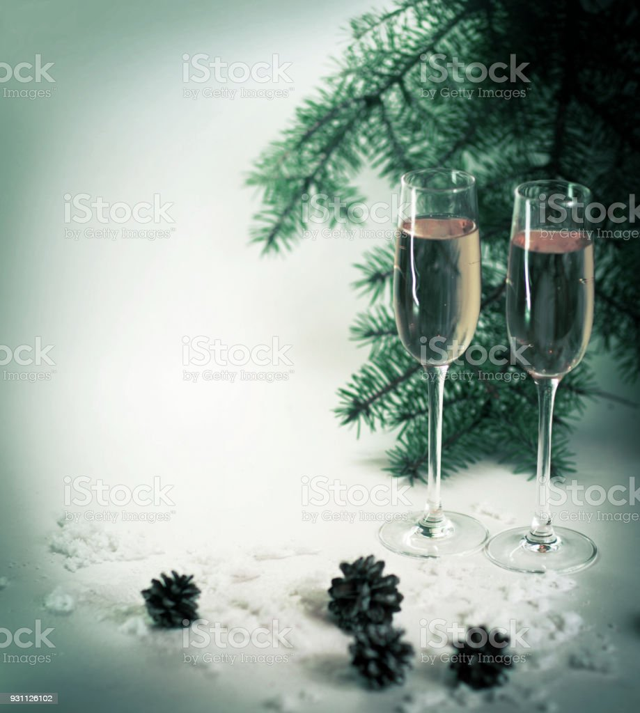 Two champagne glasses ready to bring of the New Year stock photo