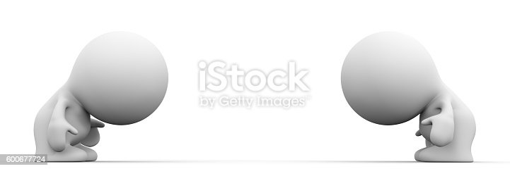 istock two characters bowing to each other 600677724