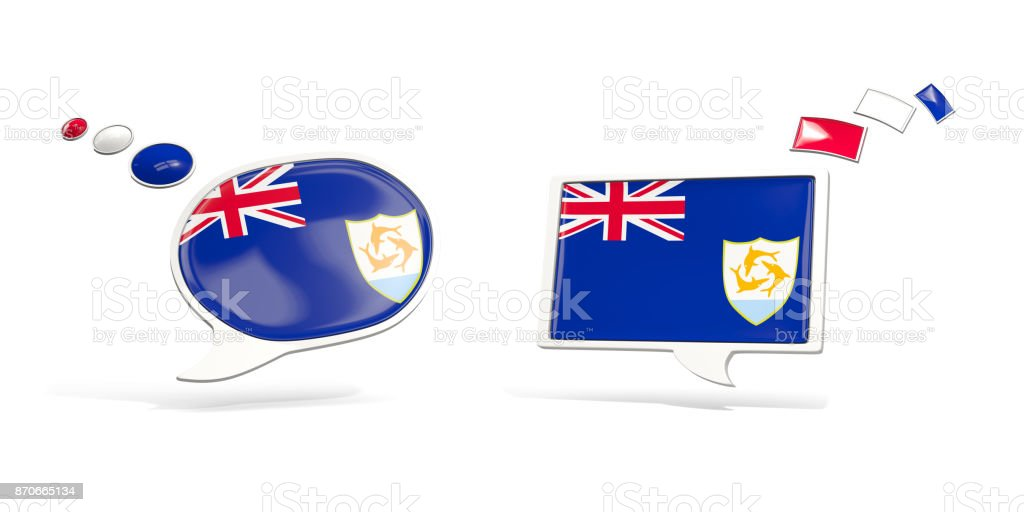 Two chat icons with flag of anguilla stock photo