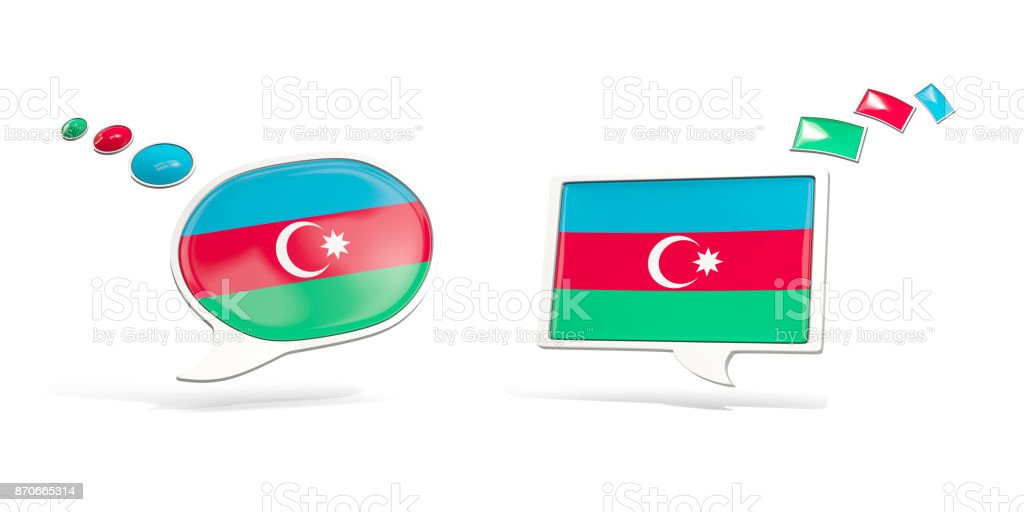 Two chat icons with flag of azerbaijan stock photo