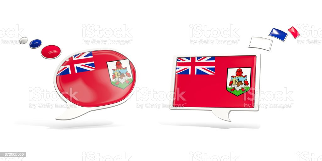 Two chat icons with flag of bermuda stock photo