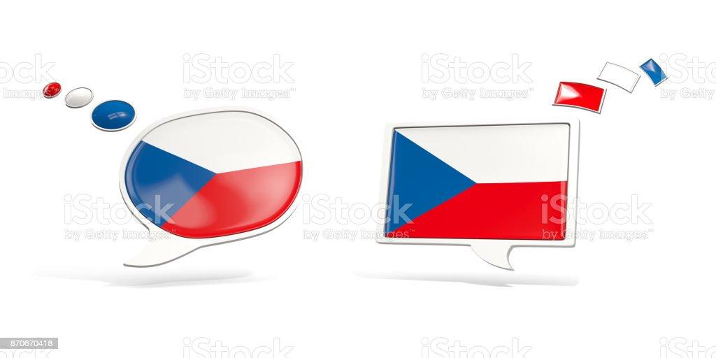 Dos iconos de chat con la bandera de República Checa - foto de stock
