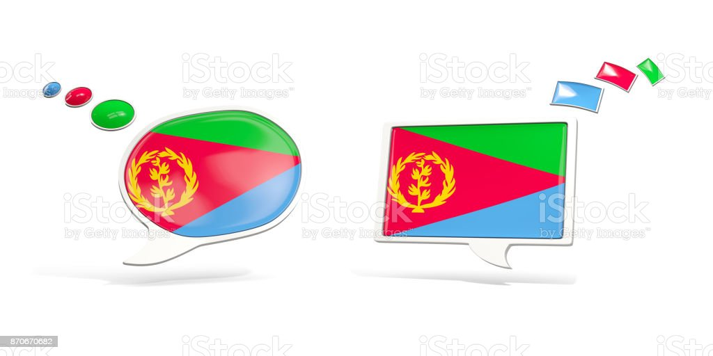 Two chat icons with flag of eritrea stock photo
