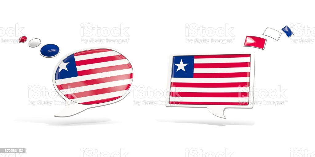 Two chat icons with flag of liberia stock photo