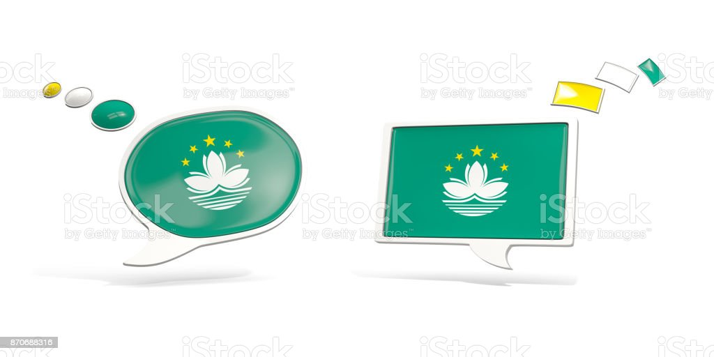 Two chat icons with flag of macao stock photo