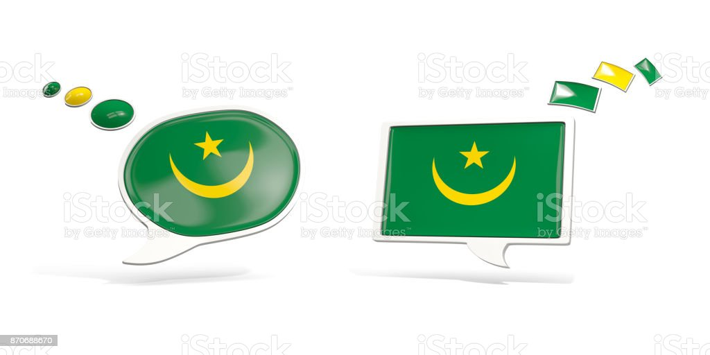 Two chat icons with flag of mauritania stock photo