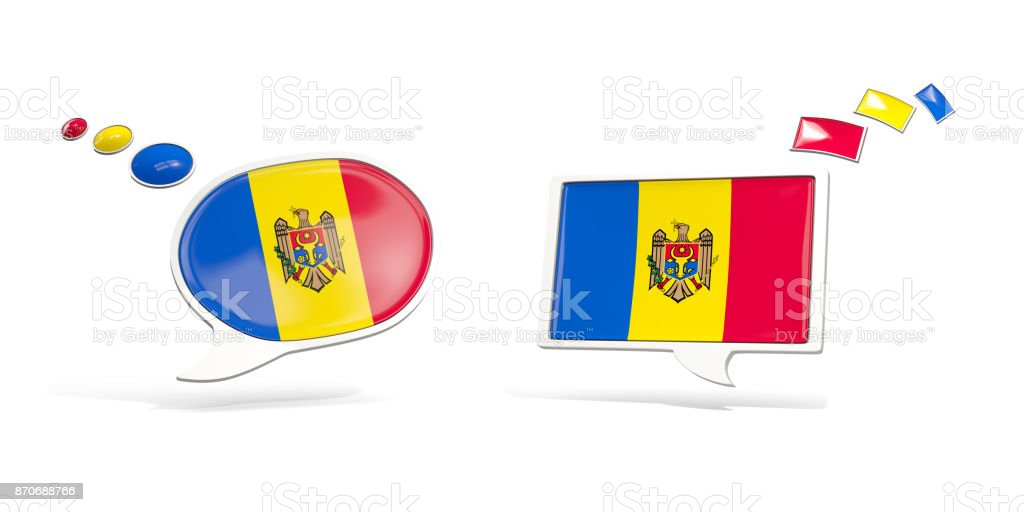 Two chat icons with flag of moldova stock photo