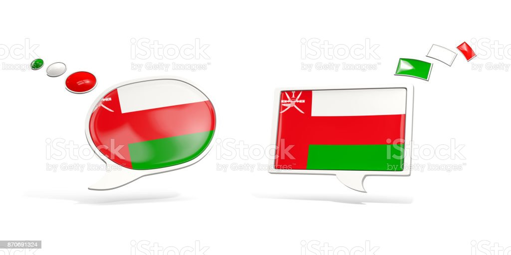 Two chat icons with flag of oman stock photo