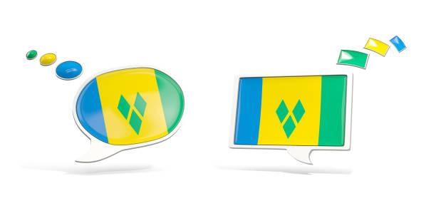 zwei chat-symbole mit flagge von st. vincent und die grenadinen - st. vincent und die grenadinen stock-fotos und bilder