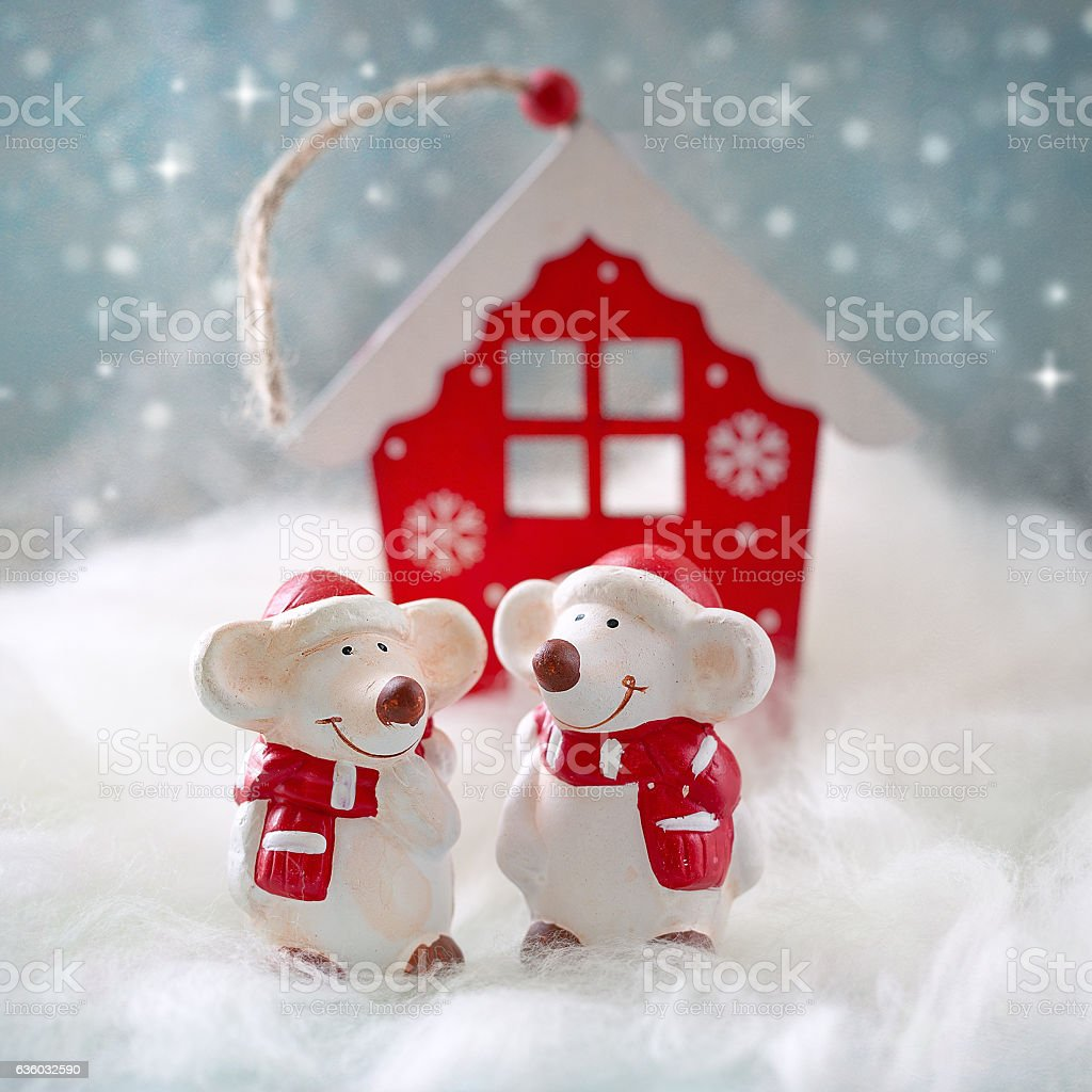 Two cheerful little mouse . stock photo