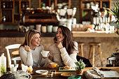 カフェでコーヒータイムを楽しんでいる2人の陽気な女性。