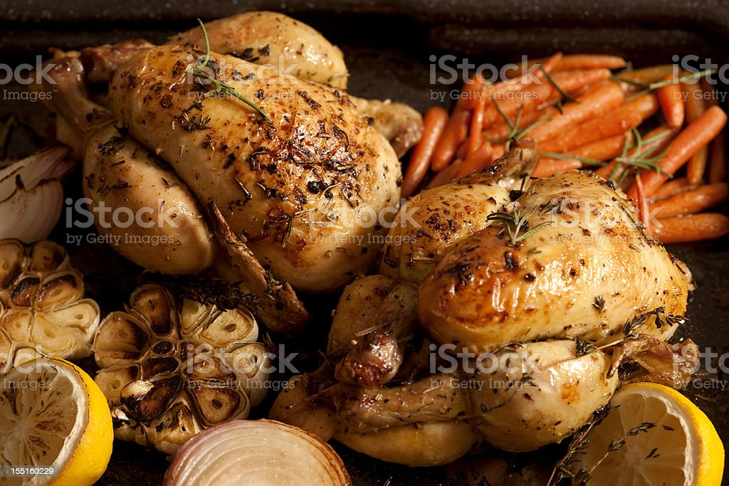 Two chicken roasts with carrots, onions and lemons royalty-free stock photo