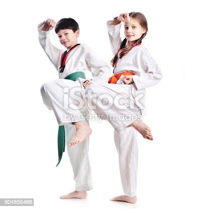 istock Two children athletes martial art taekwondo training 504856466