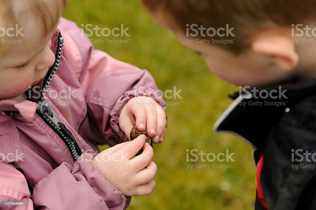 Two children examine a snail stock photo