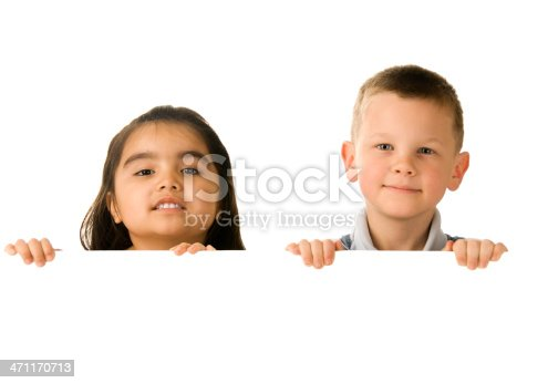 519837800 istock photo Two children holding a blank sign 471170713