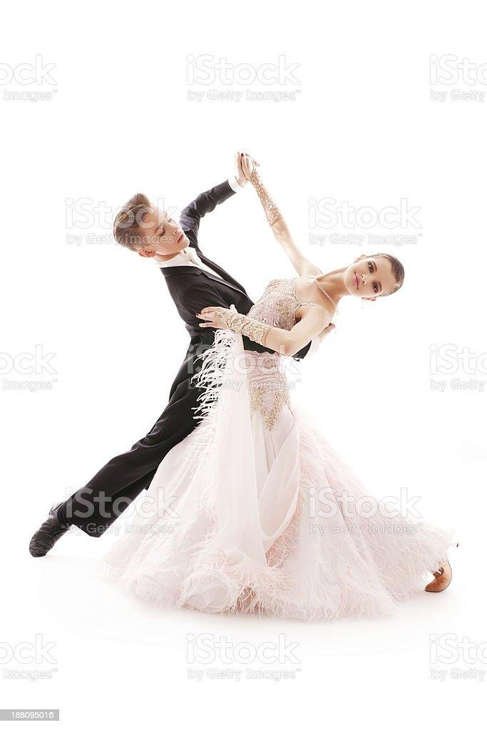 Two children in ballroom clothes waltzing stock photo