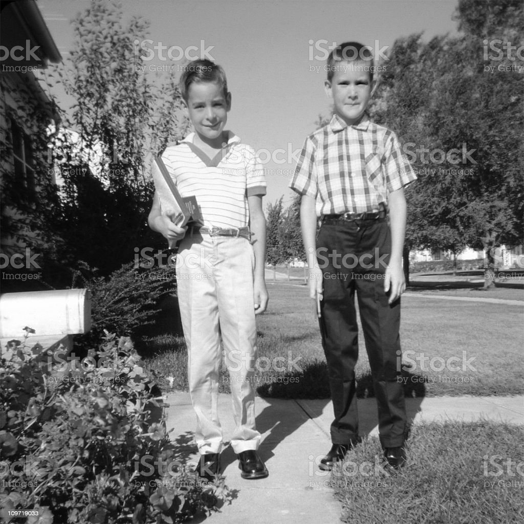 Two Children Ready for School 1959, Retro stock photo