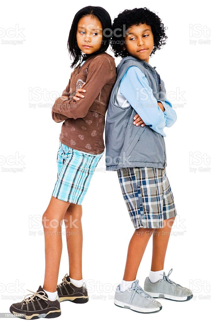 Two children standing and thinking isolated over white royalty-free stock photo