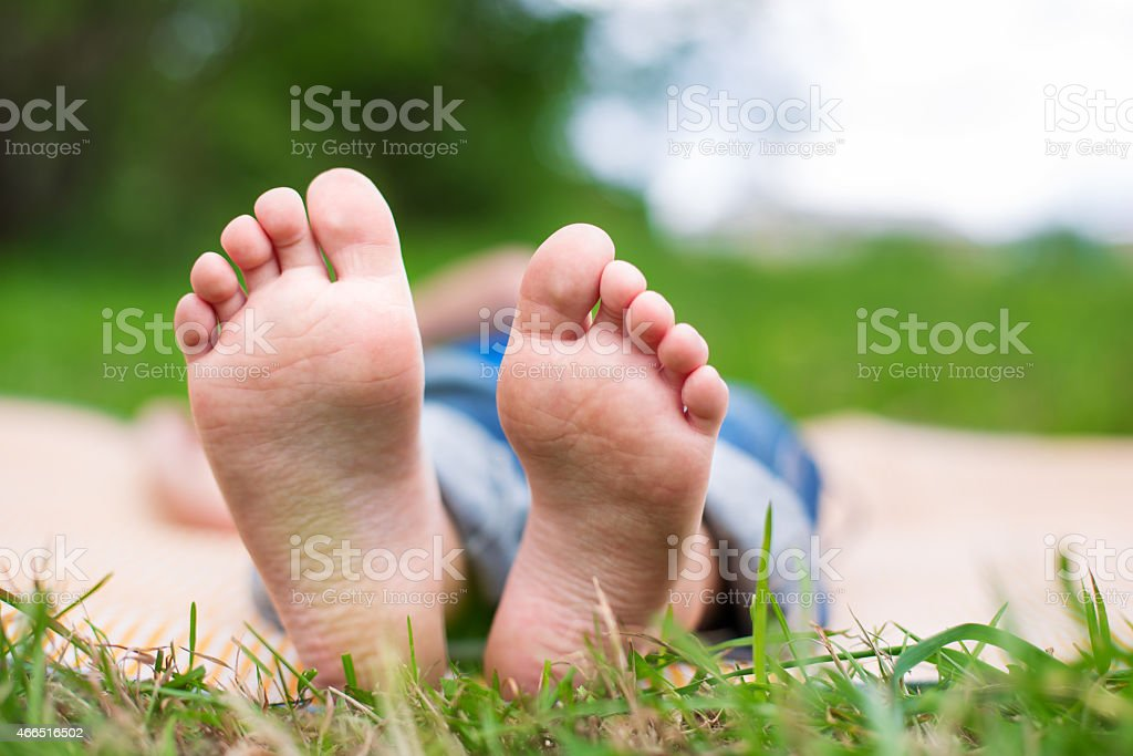 Two Child's foots stock photo