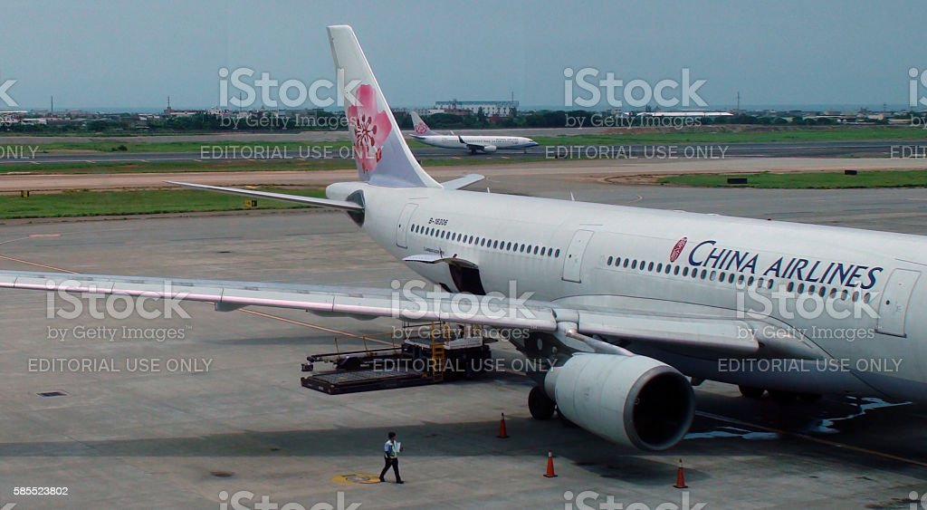 Two China Airlines Airplane Parked,Taxiing At Airport stock photo