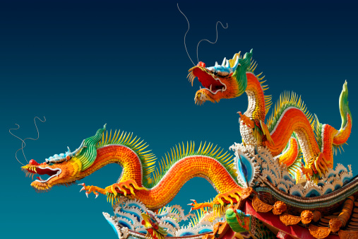 Oriental dragons on a temple