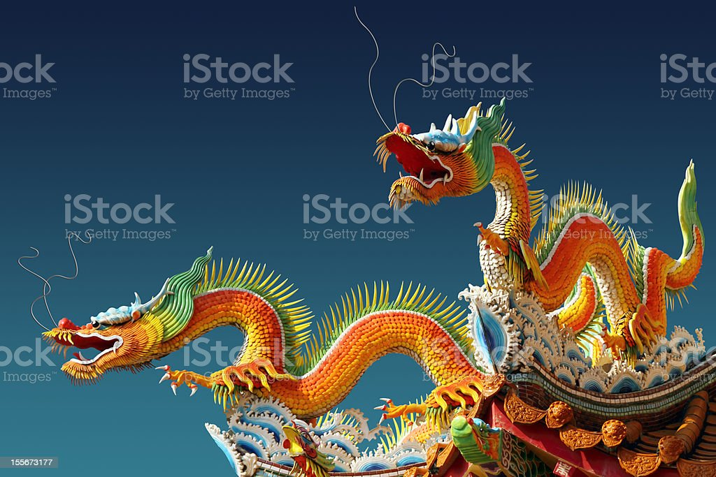 Two Chinese dragons for Chinese new year stock photo