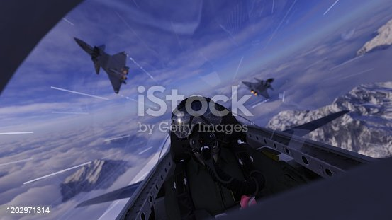 Two chinese jet flying over pilot in cockpit 3d render dogfight scene