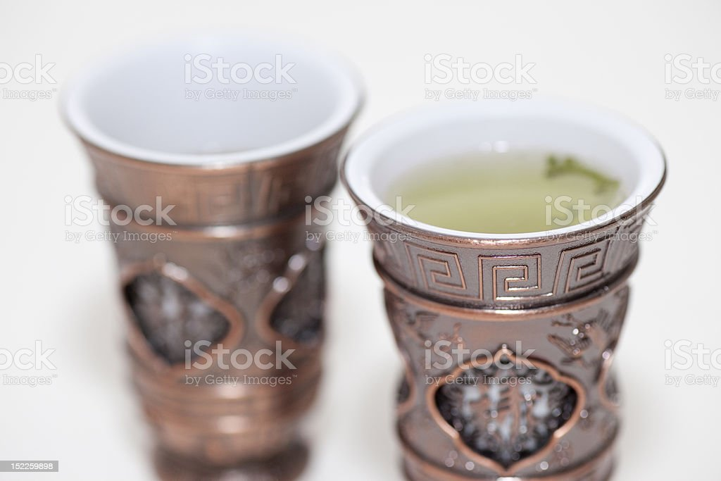 two chinese vintage iron tea cups royalty-free stock photo
