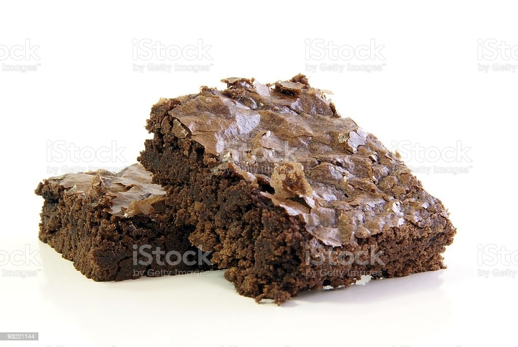 Deux Brownies au chocolat sur blanc - Photo