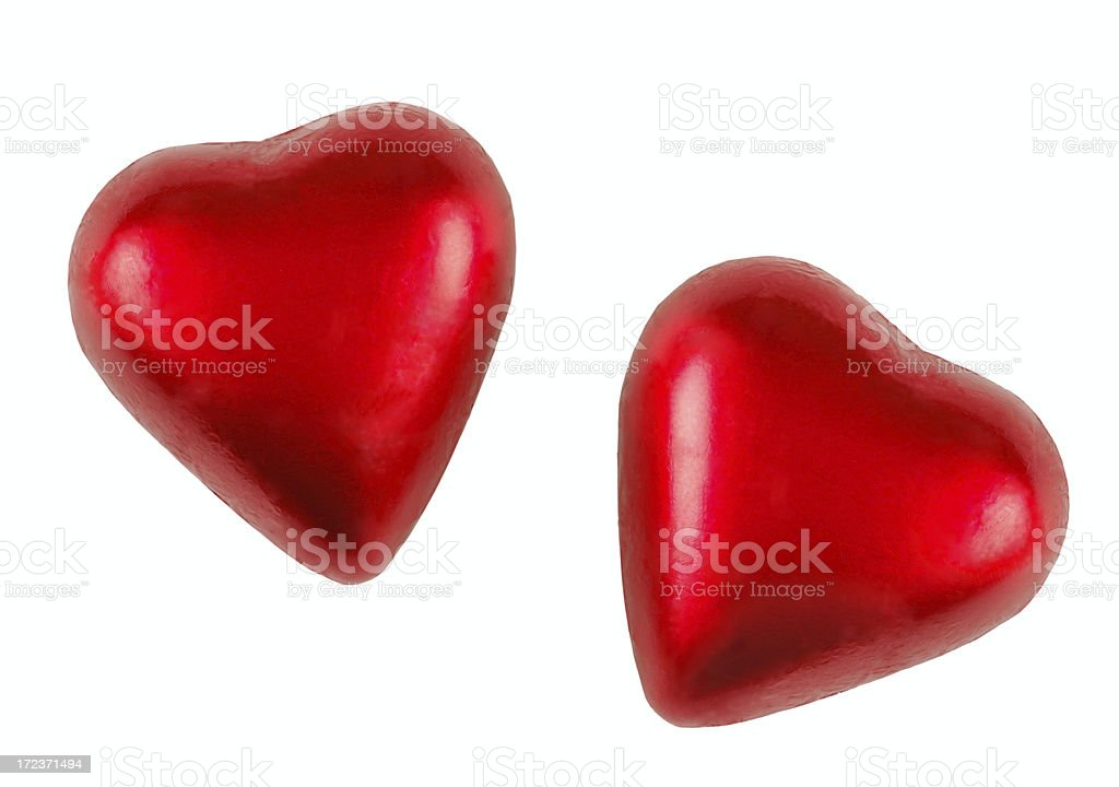 Two chocolate hearts stock photo