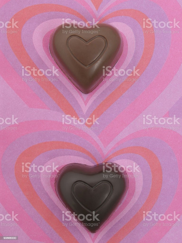 Two Chocolate Hearts royalty-free stock photo