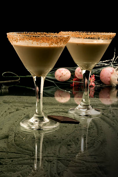 two chocolate martini with decorative fake egg bouquet stock photo