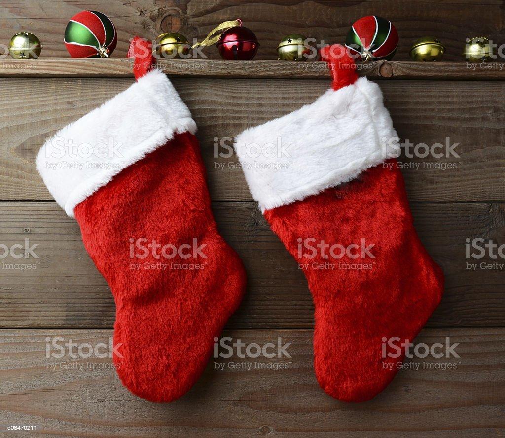 Two Christmas Stockings stock photo
