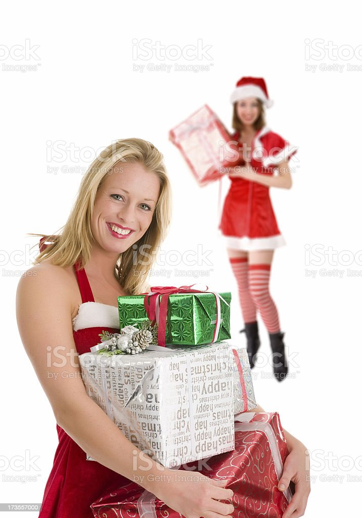Two Christmas woman royalty-free stock photo