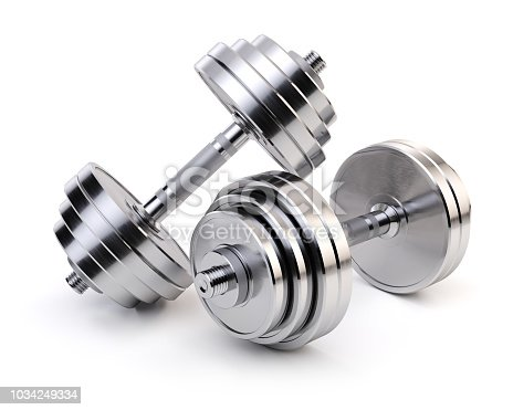 Two chrome dumbbells isolated on white background. Sporting equipment. 3d render
