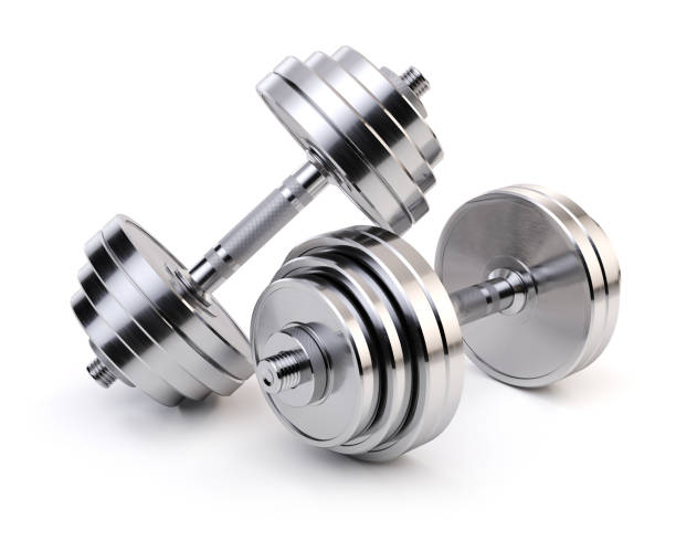 two chrome dumbbells isolated on white background. sporting equipment. - weights stock photos and pictures