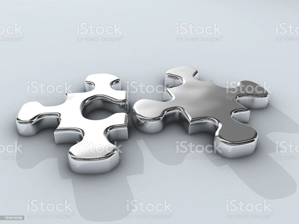 two chrome puzzle connection royalty-free stock photo