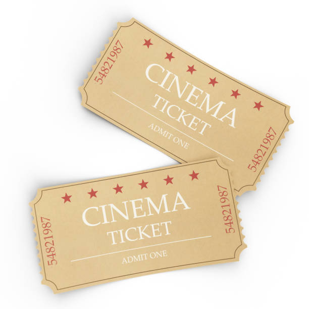 Two cinema tickets isolated on white background, top view, close-up. 3d illustration stock photo