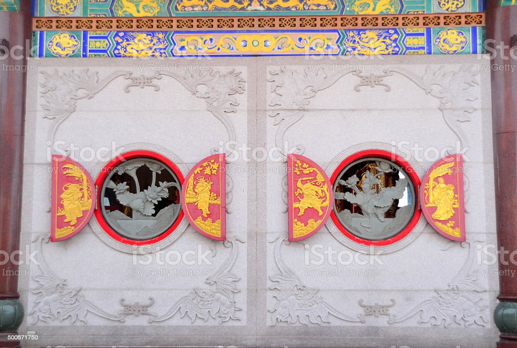 Two circle chinese windows stock photo